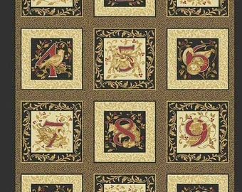 12 Days of Christmas Fabric Panel from Benartex PLUS Border Print and Quilt Binding