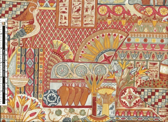 2.9 Yards OOP Egypt Mural Fabric by Makower UK - Last Piece