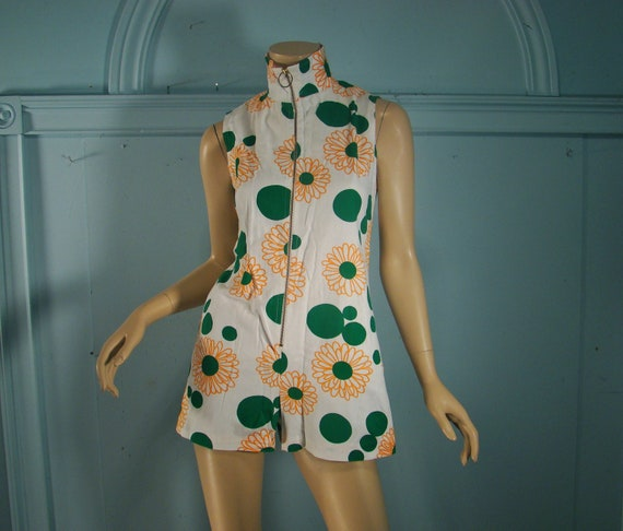 1960's Go-go Romper- Mod Scooter Outfit- Mini Length in Green, White, Orange Flowers & Dots