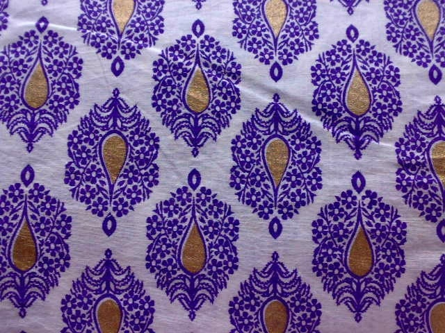 Purple Gold Flowers Printed Indian Fabric White Cotton Block