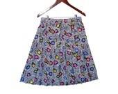 Silky Pleated Skirt Bold Print Elastic Waist fits most M LG