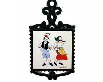 Hand Painted Tile, Tile and Iron Trivet, Folk Costume Tile, Hand Painted KY Japan Tile