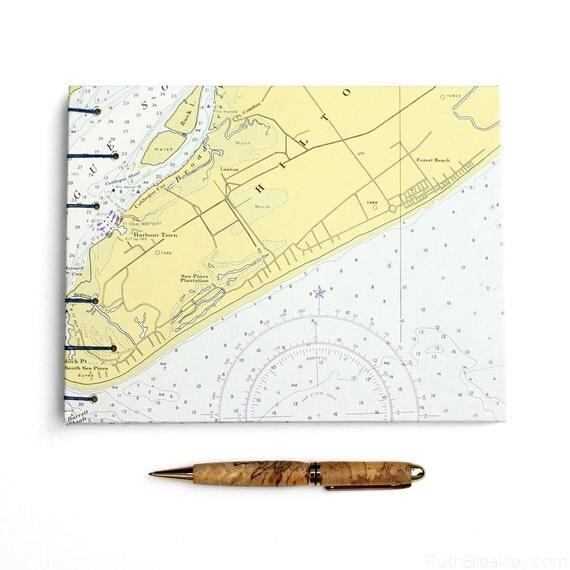 Hilton Head Nautical Guestbook - Handmade Using Vintage South Carolina Chart