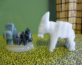 Set of 2 Mexican Onyx Stone Carved Burros