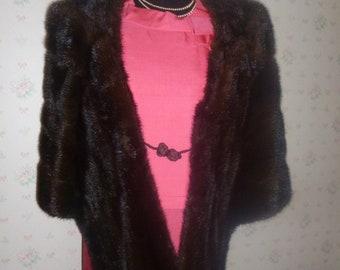 SALE Luxurious Mid Century Dark Brown Mink Stole, Mad Men Era