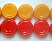 Vintage Bakelite Game Pieces Marbled Red and Butterscotch