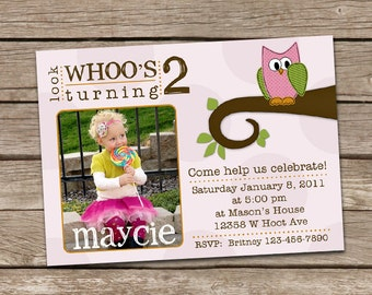 Adorable Owl Birthday Invitation - Girl