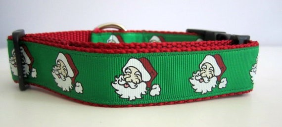 Christmas Dog Collar, Santa  1 inch wide, adjustable