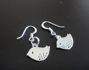 Silver Mod Bird Earrings