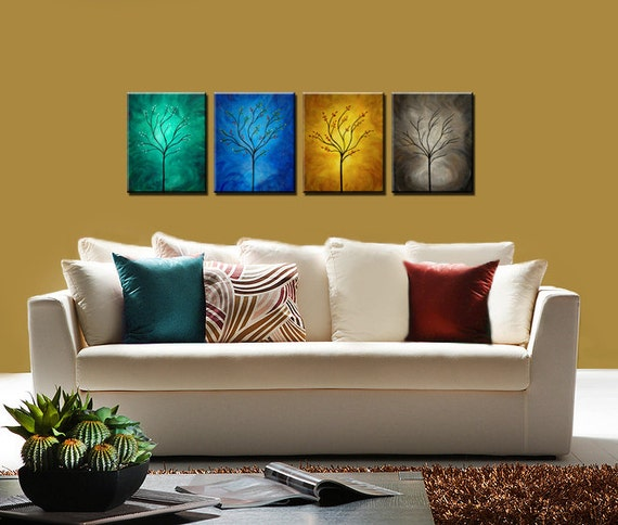 "Original Painting - ""FOUR SEASONS"" . Contemporary Abstract Landscape Art. Free shipping inside US."