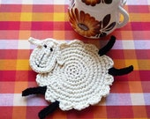 Crochet Sheep Coasters - Animal Coasters - Crochet Coasters - Lamb Coasters - Wedding Gift - Farmhouse Kitchen Decor - Set of 2 - Home Decor