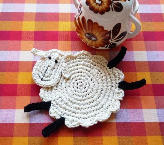 Crochet Sheep Coasters - Animal Coasters - Crochet Coasters - Lamb Coasters - Wedding Gift - Farmhouse Kitchen Decor - Set of 2 - Home Decor