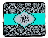 """Personalized Monogram Designer Style Laptop Sleeves - Damask & Aqua Accent  13"""" and 17 inch"""