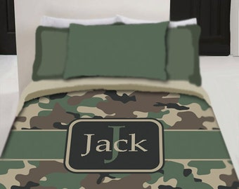 Personalized Custom Camo  Bedding Duvet Cover - Twin, Queen or King Size with pillowcovers