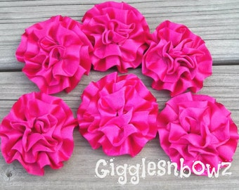 Set of 6 Beautiful SHOCKING PINK Satin Rosettes Puff Flowers