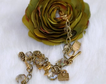 7 inch Goddess Charm Bracelet, Antique Brass and Glass Beads, Purse, Hair Brush, Hair Dryer, Comb, Mirror