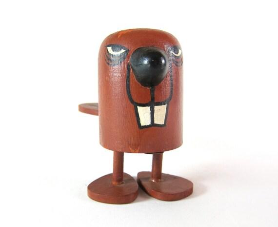 Vintage Mid Century Chippy Stylized Beaver Novelty DAM IT Wooden Pop Up Stress Toy