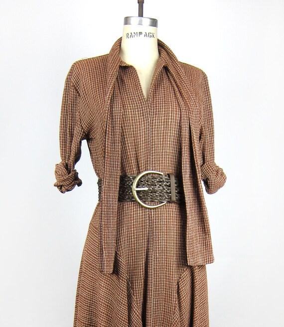 Vintage Avant Garde Norma Kamali Designer Runway Asymmetrical Hem Woven V Neck Maxi Dress in Coffee - M / L