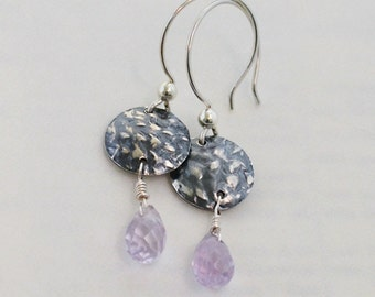 Remnant Earrings in Fine & Sterling Silver and Ametrine