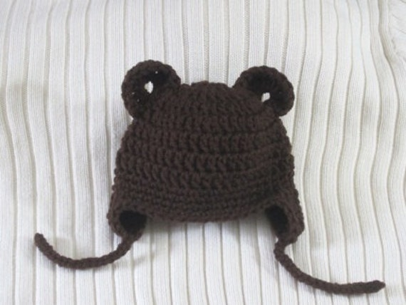 Brown Baby Bear Hat with Earflaps Newborn - 3 mon. Size Crocheted Ready to be mailed. Photo Prop