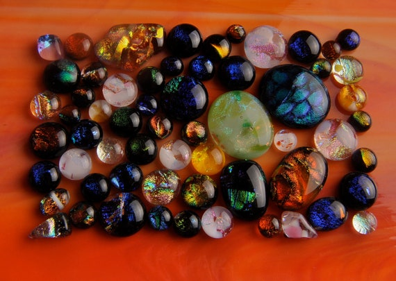 Handmade Dichroic Fused Glass Cabs Cabochons Beads lot of 60