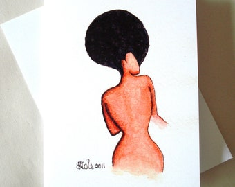 African American 'Afro Allure' Watercolour Greeting Card