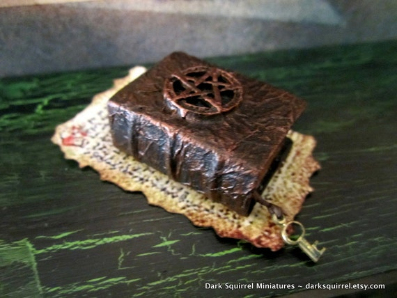 Witches Pentagram Spell  Book dollhouse miniature in one inch scale ooak