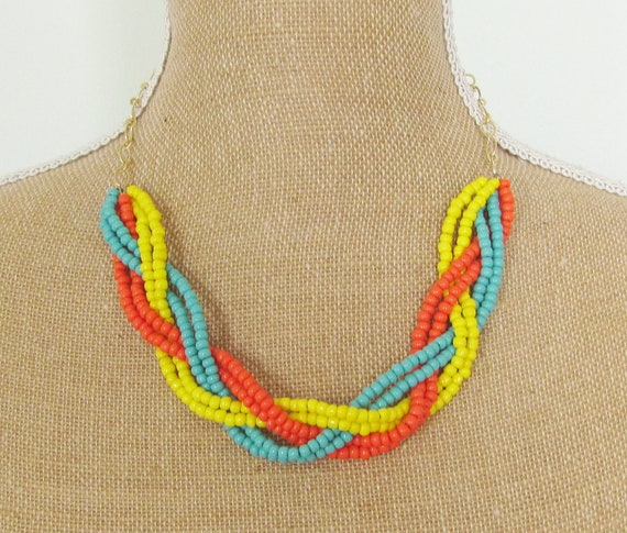Braided Necklace Tangerine Orange, Turquoise Blue, and Bright Yellow Glass Beads on Hamilton Gold Chain