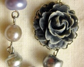 Retro Muted Rose Necklace with Vintage Czech Glass and Lucite Pearl Beads
