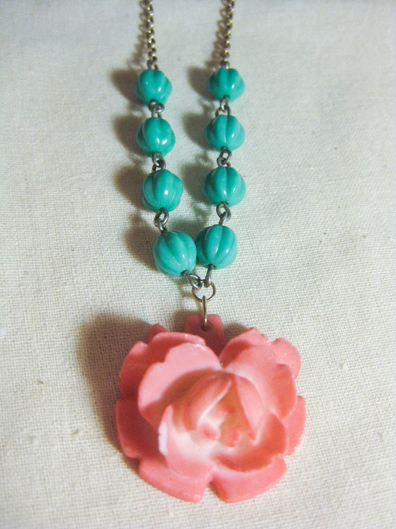 CLEARANCE SALE Vintage Carved Lucite Pink Rose Necklace wtih Turquoise Czech Beads
