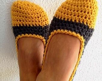 Honey Gold Titanium Crochet Womens Slippers, Ballet Flats, House Shoes