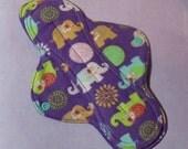 Mama Cloth Reusable Sanitary Menstrual Pad purple elephants - size SMALL to MEDIUM