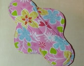 Mama Cloth Reusable Sanitary Menstrual Pad pink floral - size SMALL to MEDIUM