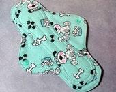Mama Cloth Reusable Sanitary Pad Menstrual Pad PUL aqua turquoise dogs puppies size small or medium