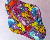 Menstrual Pad Mama Pad Mama Cloth Reusable Sanitary Pad with PUL lining multi-coloured cats kitties - size L / L Plus