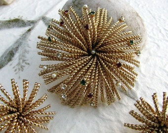 Large Bergere Fireworks Brooch and Earrings Set