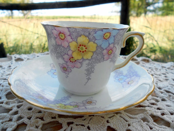 Vintage Teacup Tea Cup and Saucer Floral English Bone China