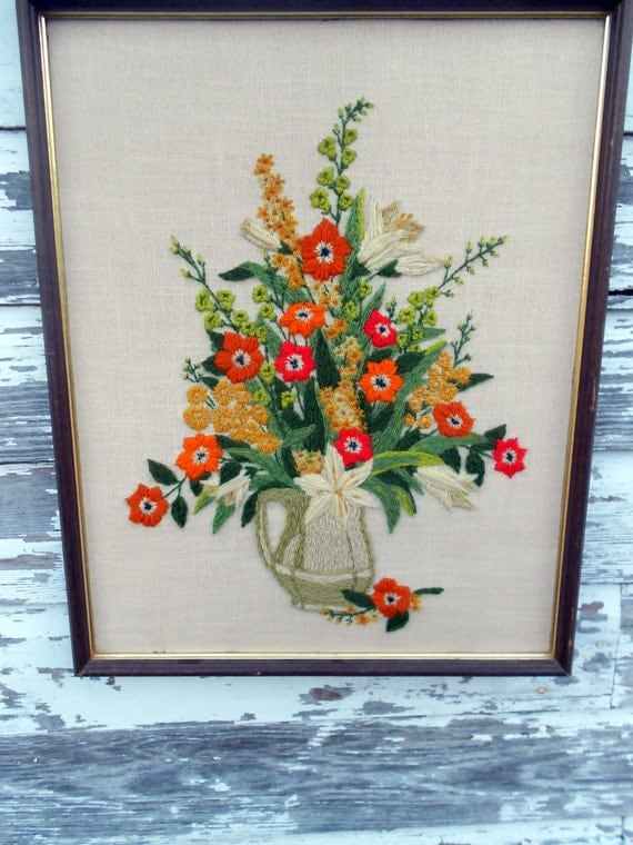 Vintage crewel embroidery picture d floral flowers