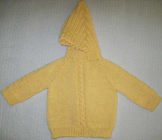 Hand Knit Hooded Sweater Zip Up The Back Hoodie - Sizes Newborn, 6 Months, 12 Months 4 Colors  Machine