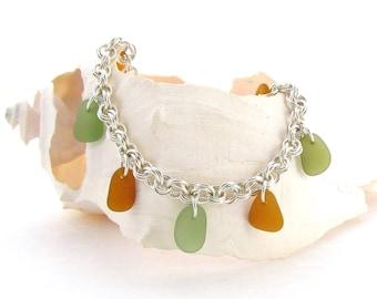 Beach Glass Charm Bracelet - Amber/Sage