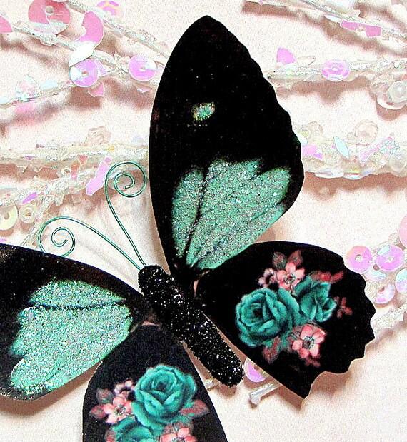 Butterfly Embellishments Mint Green Rose