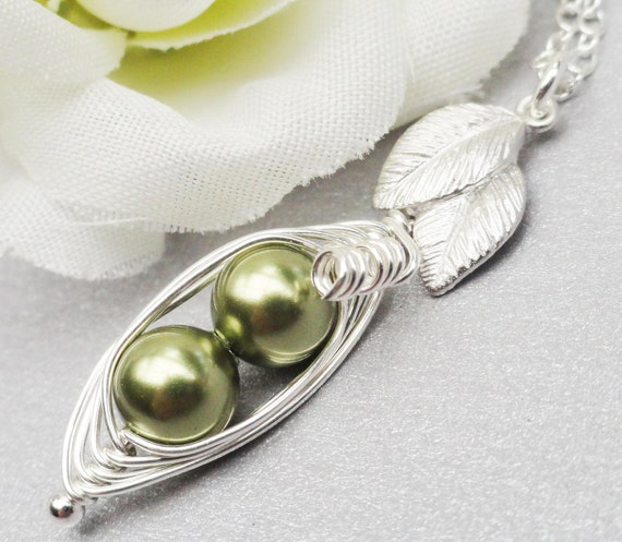 Two Petite Peas In A Pod Necklace Sterling Silver ( Choose Your Colors)