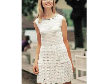 INSTANT DOWNLOAD PDF Vintage Crochet Pattern  White Lace Mini Dress  1960s Retro