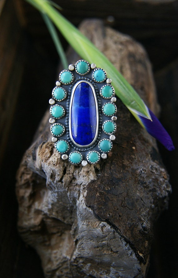 Your Soul's Flower - Lapis and Turquoise Sterling Silver Cluster Ring
