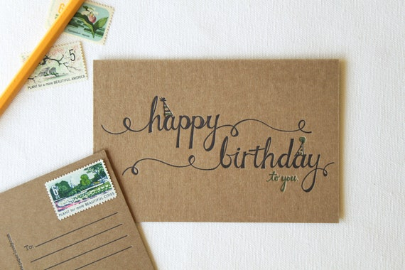 Happy Birthday Letterpress Postcards. Set of 6