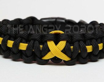 SLIM Paracord Bracelet Cobra - Thin Line Ribbon - Black with Yellow
