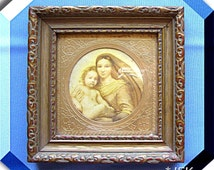 Sistine Madonna Raphael Brass and Gold Wood Frame Religious VINTAGE C A Richards Boston