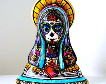 Day of the Dead Madonna Vase Ceramic Hand Painted Tattoo Mary Planter Roses Birds Sugar Skull Sacred Heart Dia de los Muertos folk art