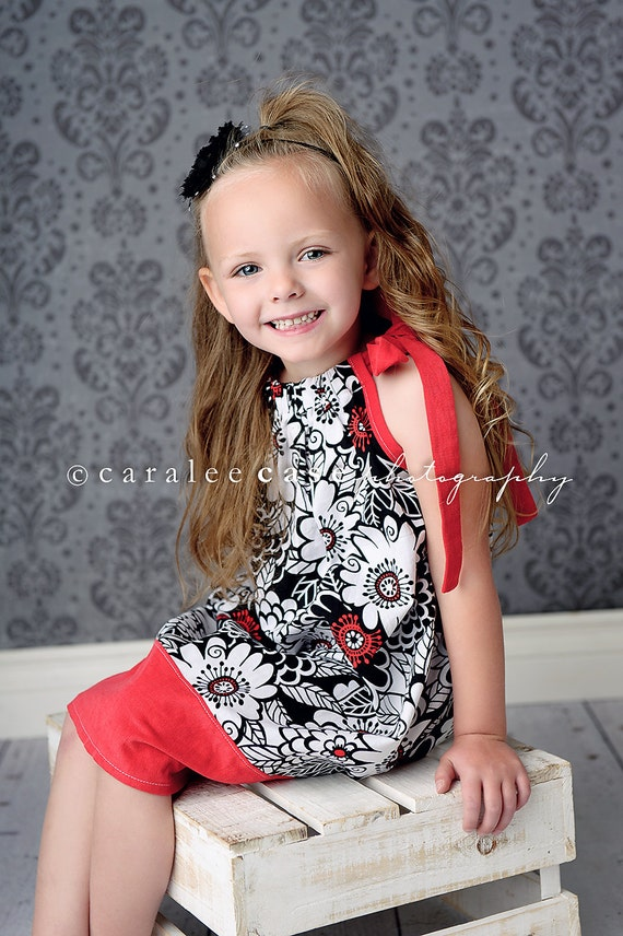 End of SUMMER CLEARANCE SALE - Girls Black and Red Pillowcase Dress sizes -sizes 0-6 mo, 6-12 mo, 12-24 mo, 2t, 3t, 4t, 5, 6 or 8