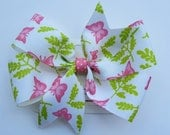 Girls Pink and Green Butterfly Pinwheel Hair Bow - Large 5""